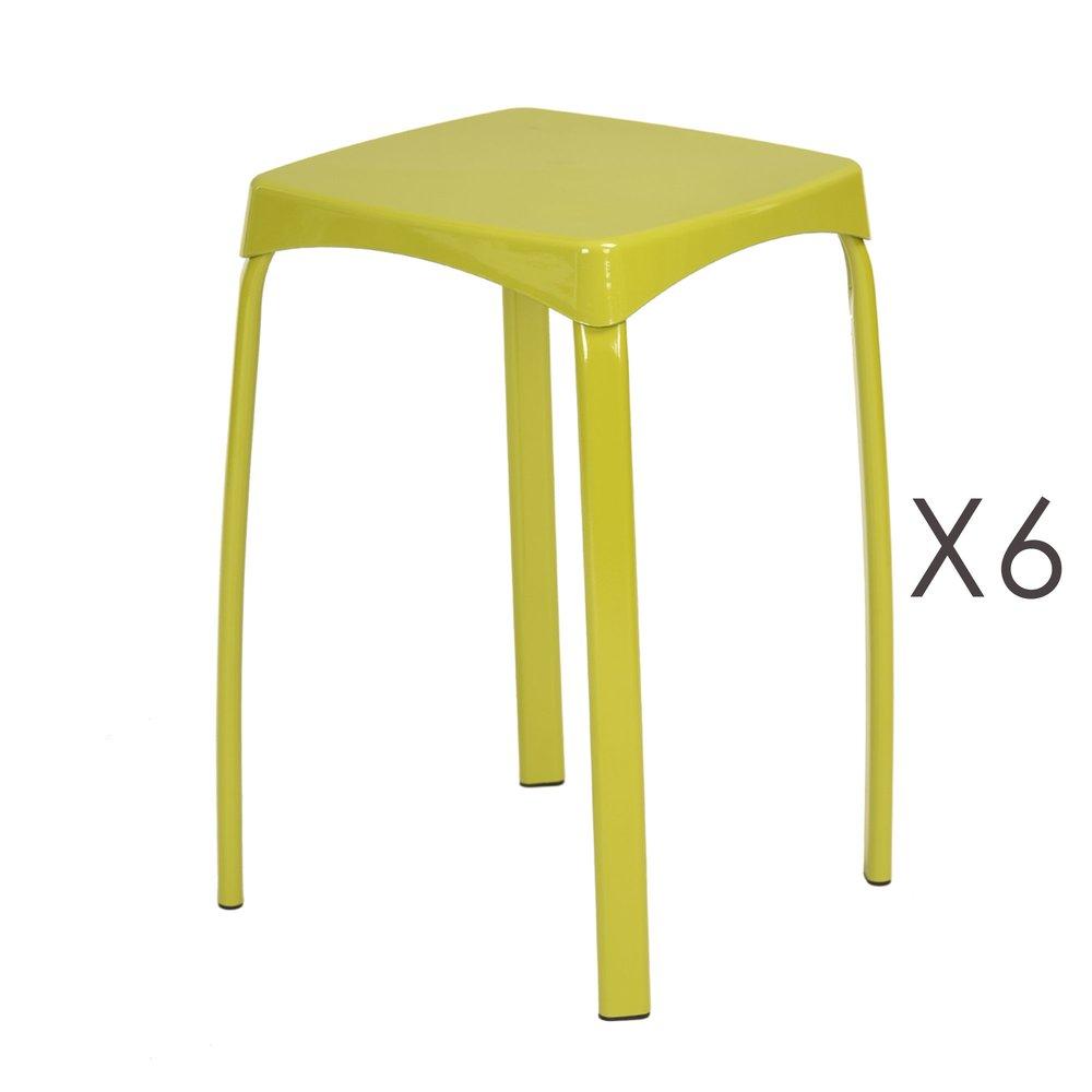 Tabouret - Lot de 6 tabourets 32x32x45,5 cm en métal vert - ATHYS photo 1