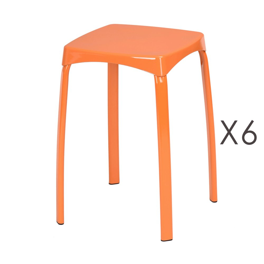 Tabouret - Lot de 6 tabourets 32x32x45,5 cm en métal orange - ATHYS photo 1