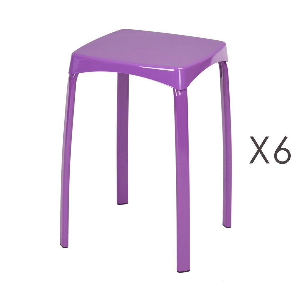 Tabouret - Lot de 6 tabourets 32x32x45,5 cm en métal violet - ATHYS photo 1