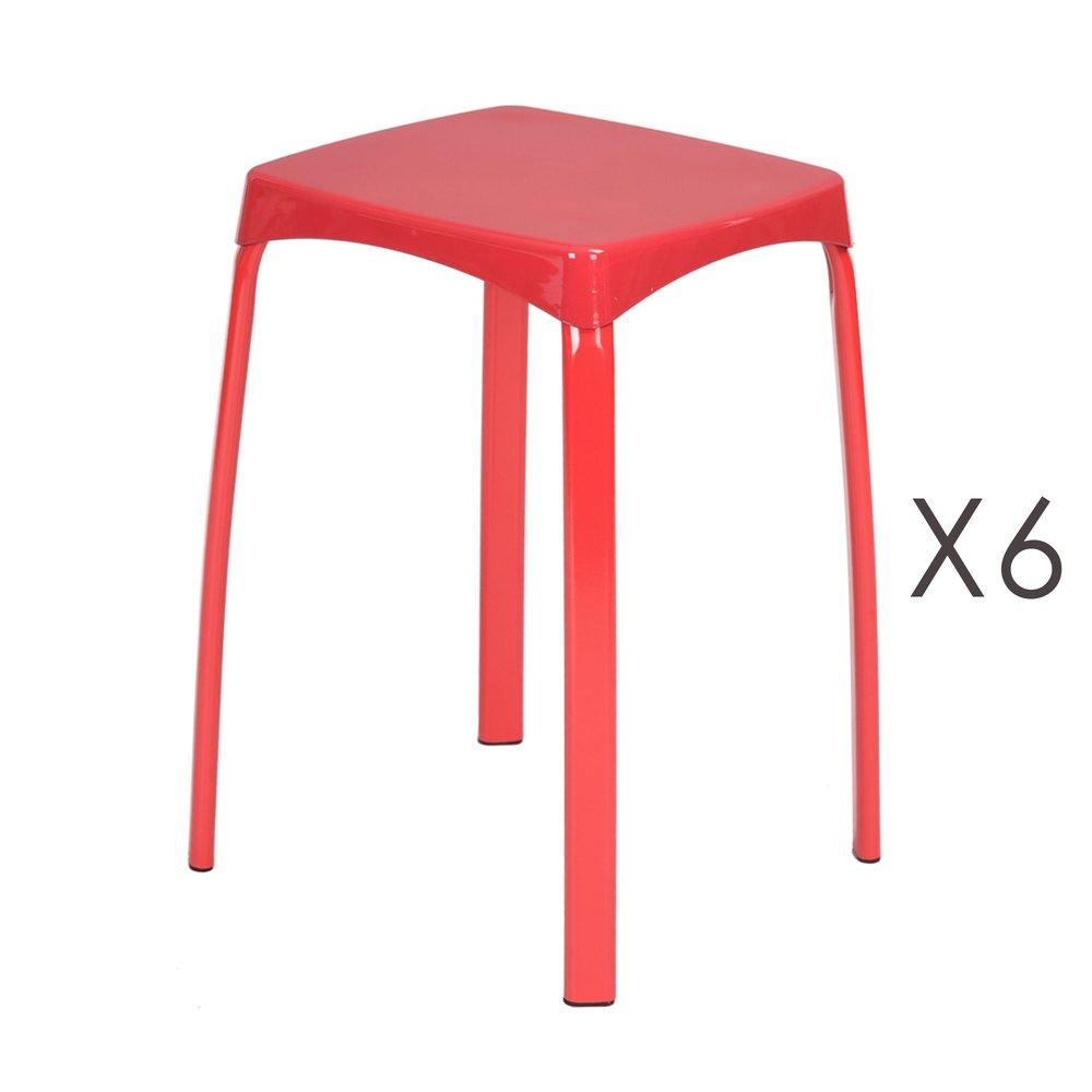 Tabouret - Lot de 6 tabourets 32x32x45,5 cm en métal rouge - ATHYS photo 1