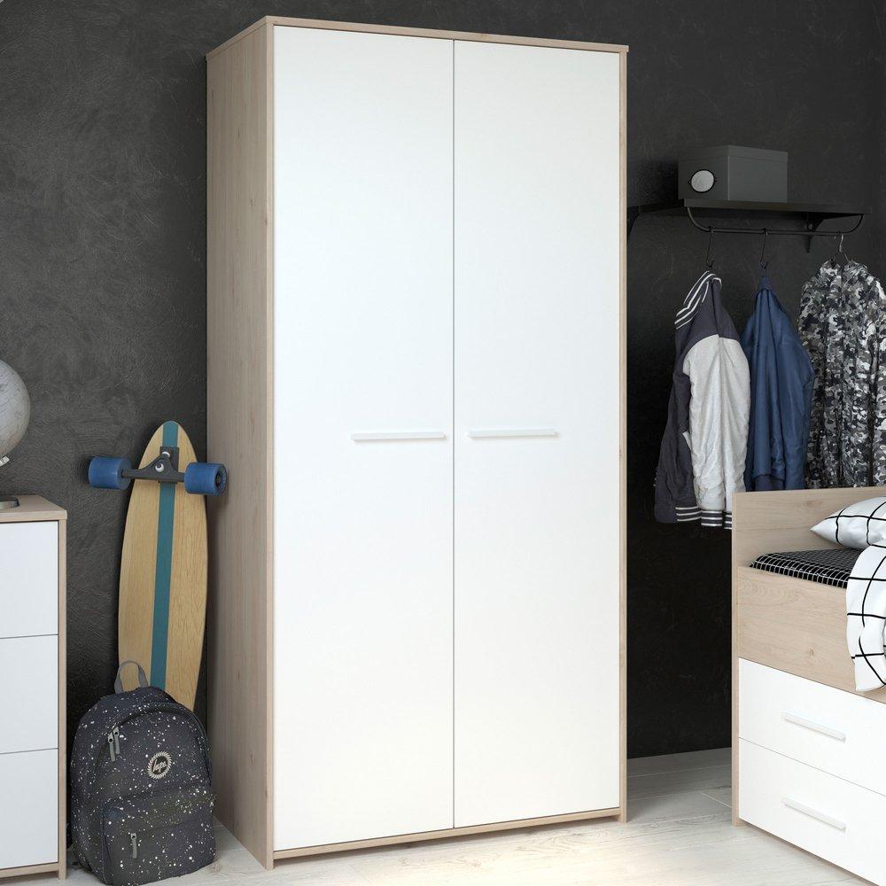 Armoire - Armoire 2 portes blanc et chêne - DISCREE photo 1