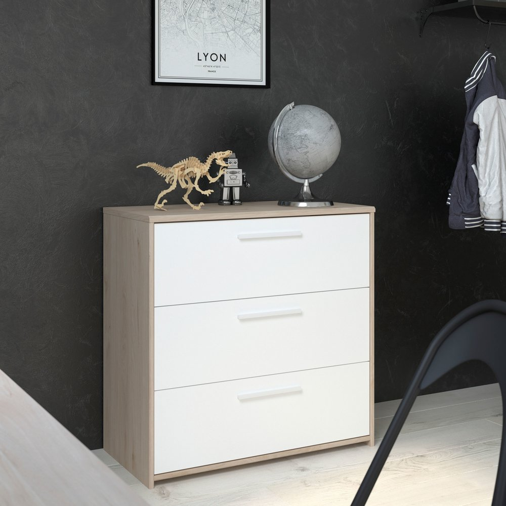 Commode - Coiffeuse - Commode 3 tiroirs 80 cm blanc et chêne - DISCREE photo 1