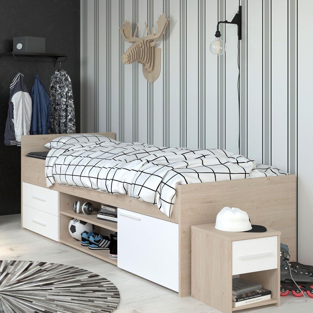 Lit 90x190 200 Cm Avec Rangement Blanc Et Chene Discree Maison Et Styles
