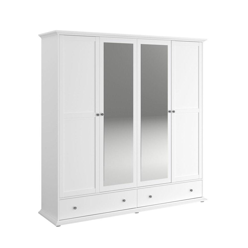 Armoire - Armoire 4 portes et 2 tiroirs blanche - SHALLO photo 1