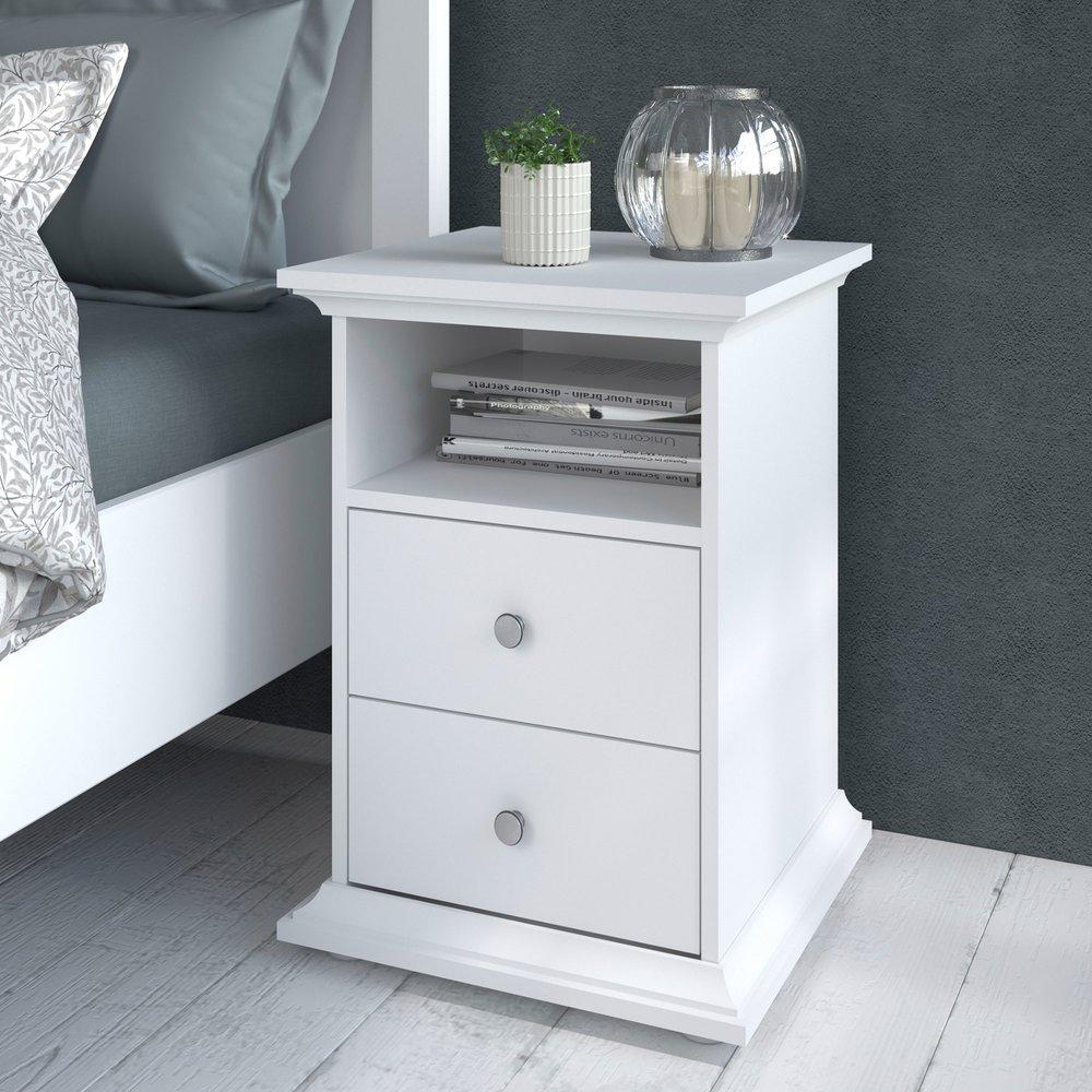 Chevet - Chevet 2 tiroirs blanc - SHALLO photo 1