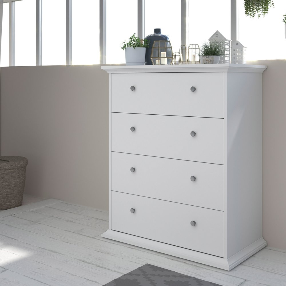 Commode - Coiffeuse - Commode 4 tiroirs 85 cm blanche - SHALLO photo 1