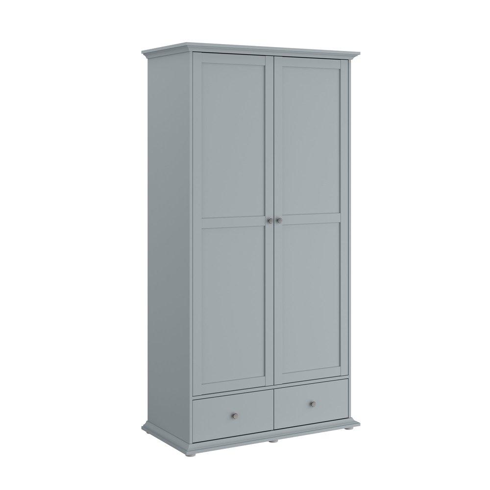 Armoire - Armoire 2 portes et 2 tiroirs grise - SHALLO photo 1