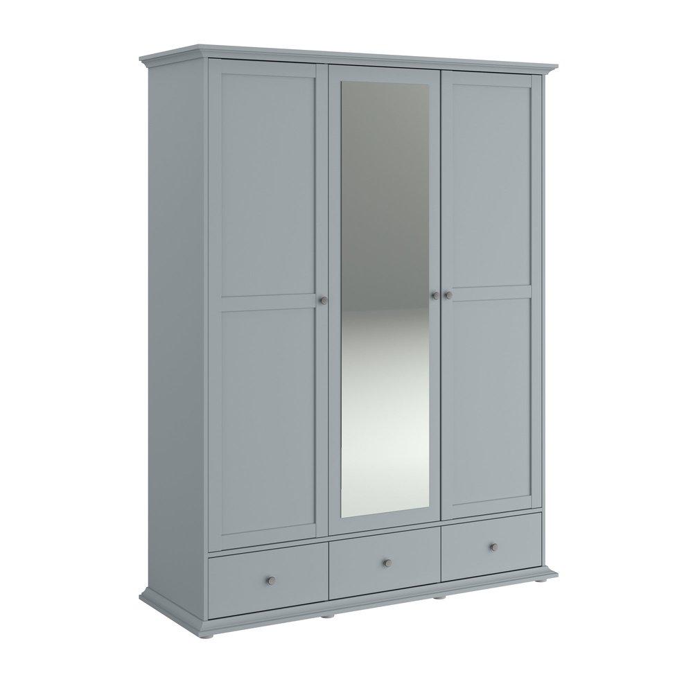 Armoire - Armoire 3 portes et 3 tiroirs grise - SHALLO photo 1
