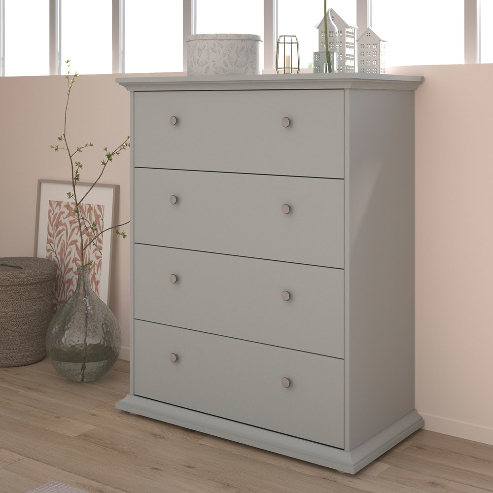 Commode - Coiffeuse - Commode 4 tiroirs 85 cm grise - SHALLO photo 1