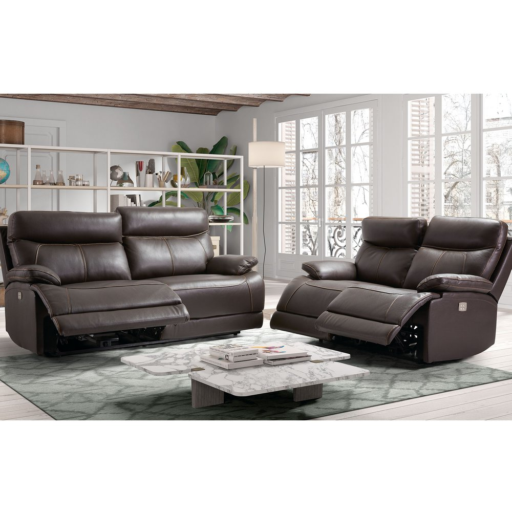 Canapé de relaxation - Ensemble de canapés de relaxation 3+2 places en cuir marron photo 1