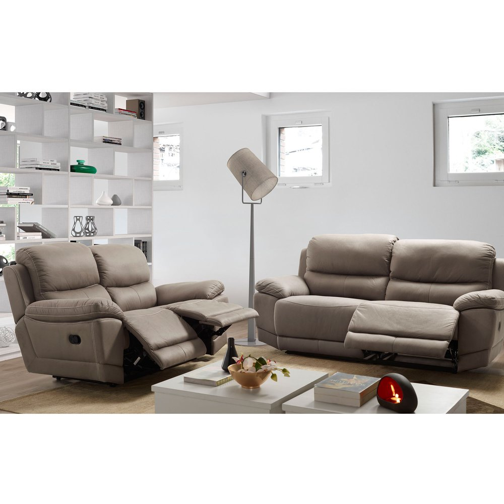 Canapé de relaxation - Ensemble de canapé 3+2 places en newnobuck gris photo 1