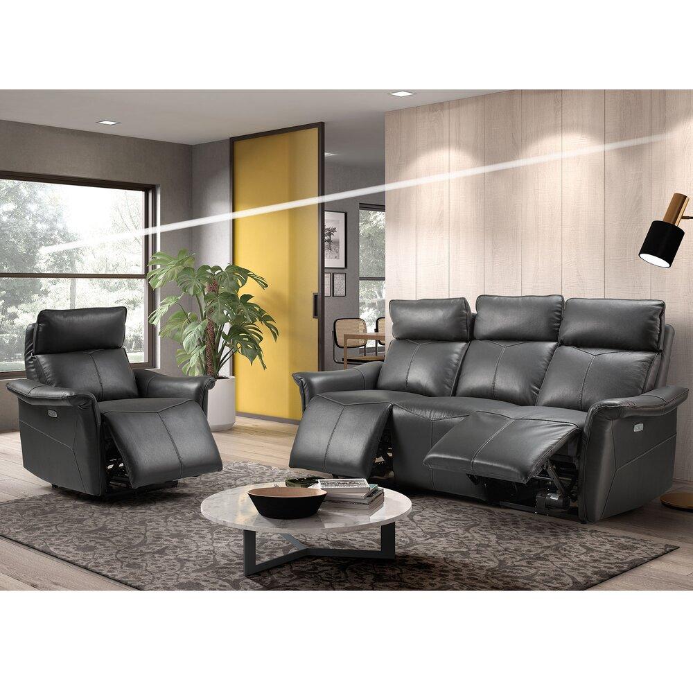 Canapé de relaxation - Ensemble canapé + fauteuil de relaxation en cuir noir - KIEVA photo 1