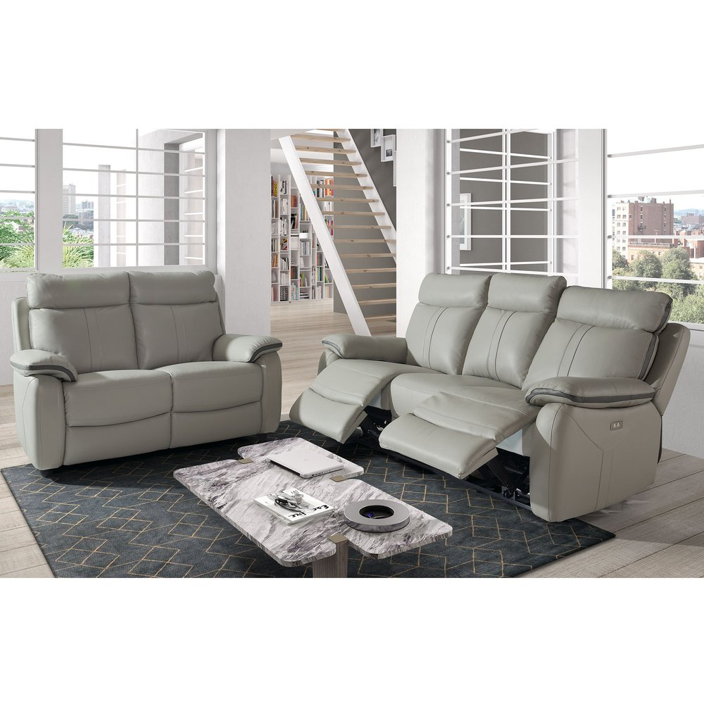 Canapé de relaxation - Ensemble de canapés 3+2 places en cuir gris clair photo 1