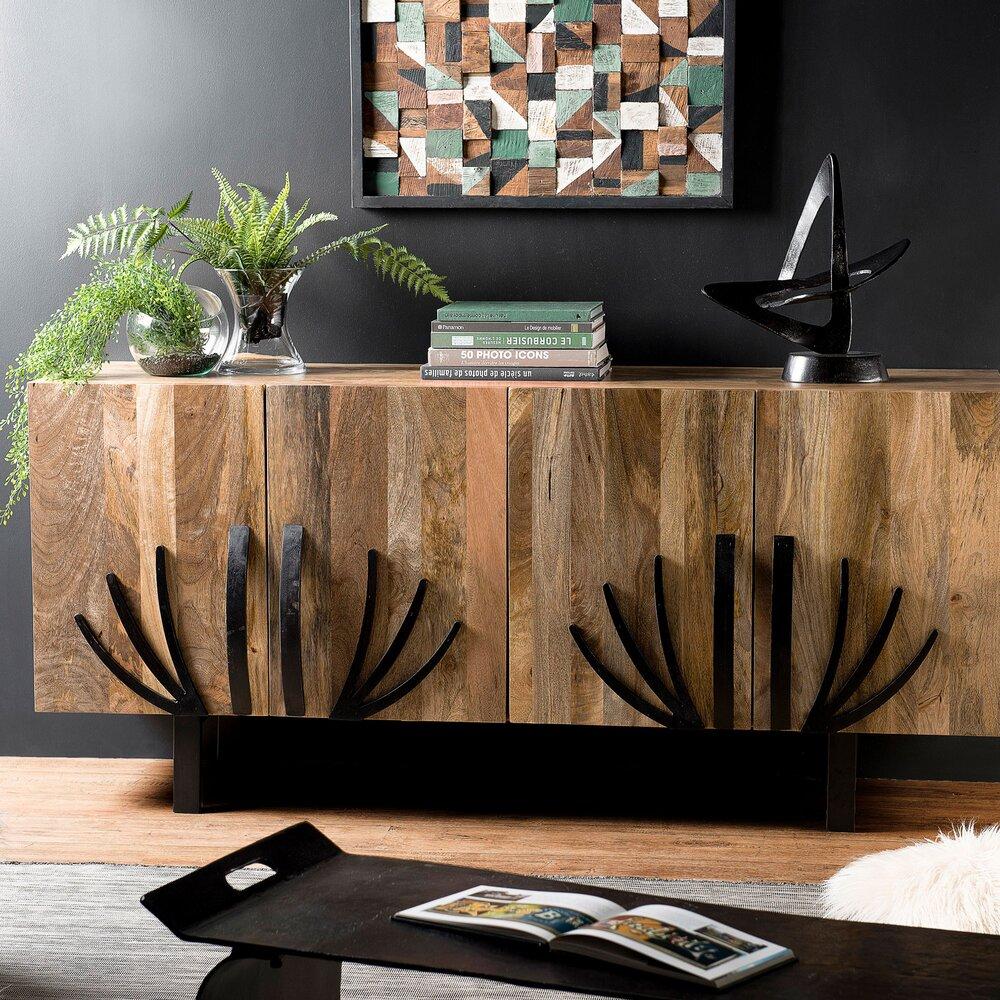 Buffet - vaisselier - Buffet 2 portes en manguier avec décors et pieds en métal - MANGUY photo 1