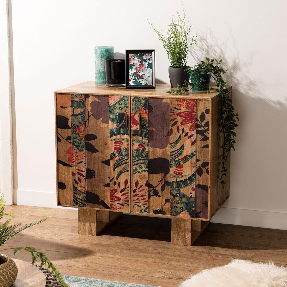 Buffet - vaisselier - Buffet 2 portes 81 cm en manguier avec décors multicolores - MANGUY photo 1