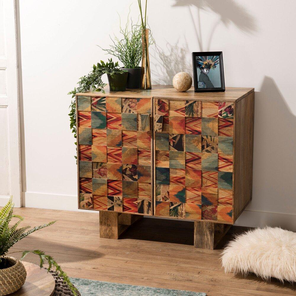 Buffet - vaisselier - Buffet 2 portes en manguier avec décor carrés multicolores - MANGUY photo 1
