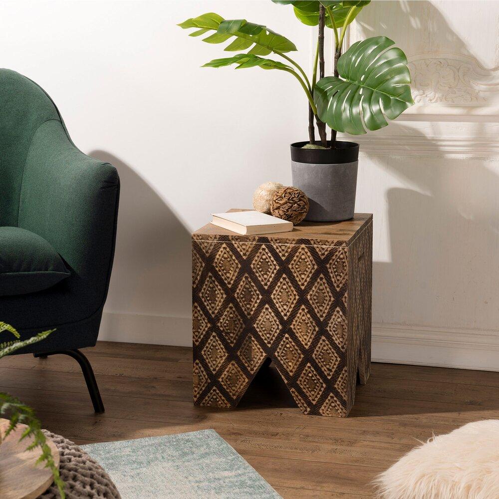 Tabouret - Tabouret carré 40x40x45 cm en manguier et décor noir - MANGUY photo 1