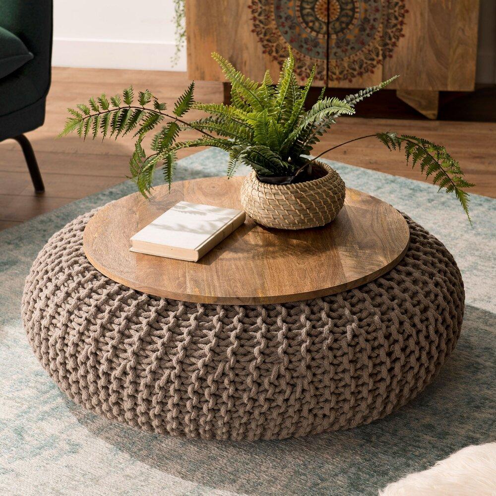 Table basse - Table d'appoint ronde 80 cm en manguier et coton gris - MANGUY photo 1