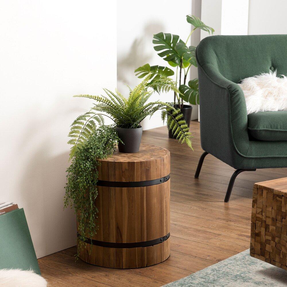Tabouret - Table d'appoint ronde 43x43x48 cm en teck recyclé et métal - TEAKY photo 1