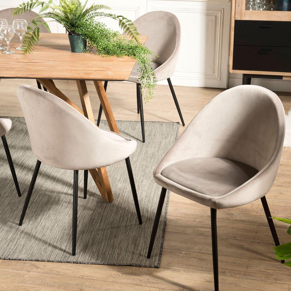 Lot de 2 chaises repas en tissu velours taupe