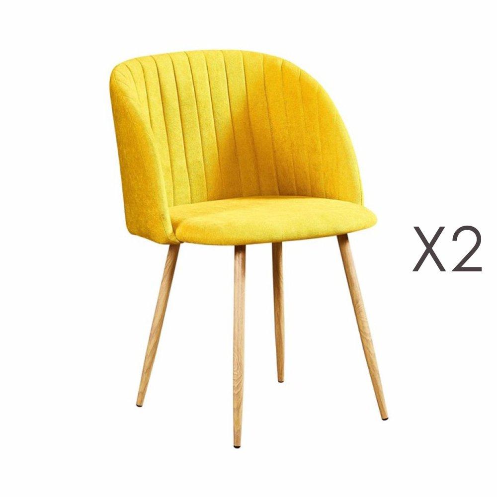 Chaise - Lot de 2 chaises en tissu suédine jaune - LINEA photo 1