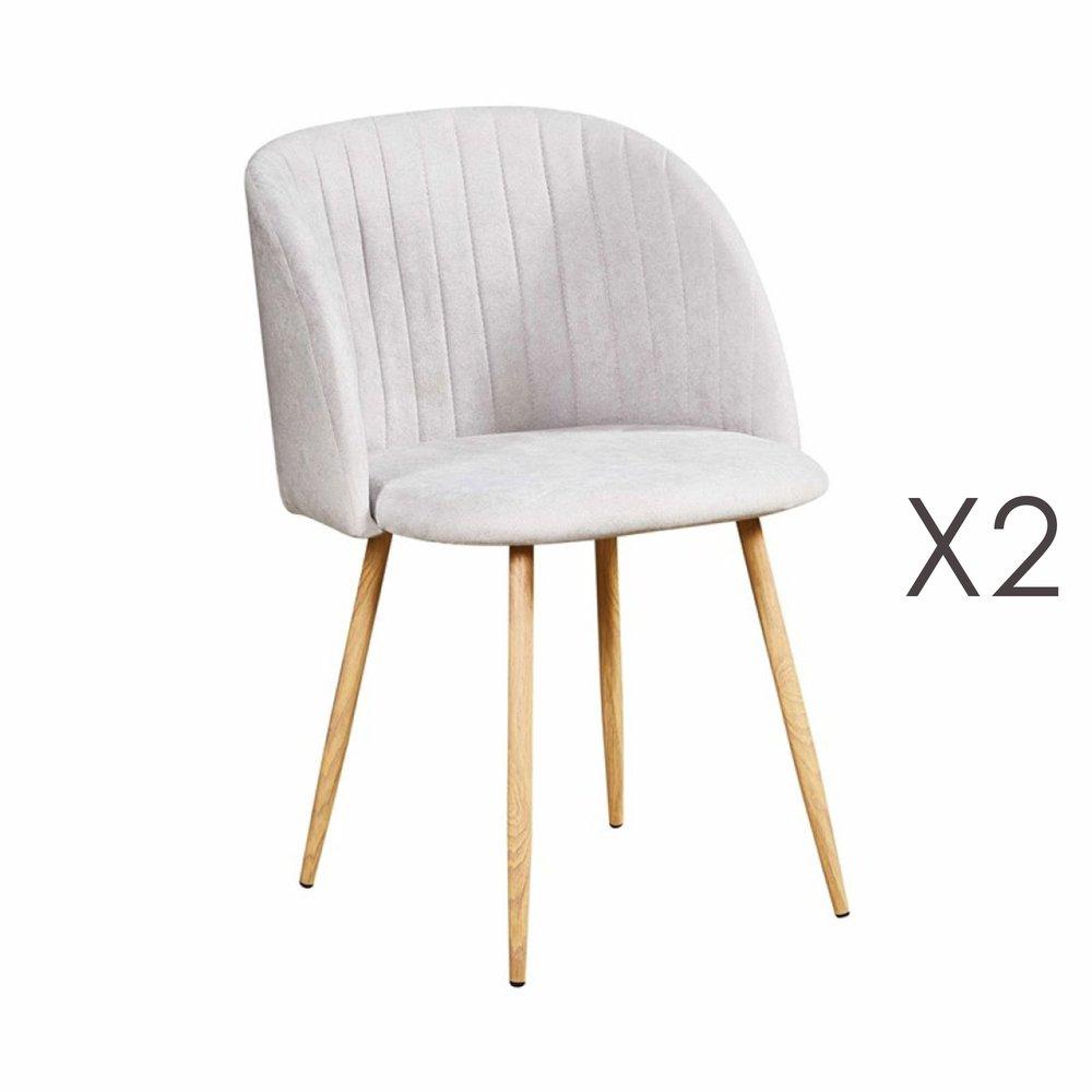 Chaise - Lot de 2 chaises en tissu suédine gris clair - LINEA photo 1