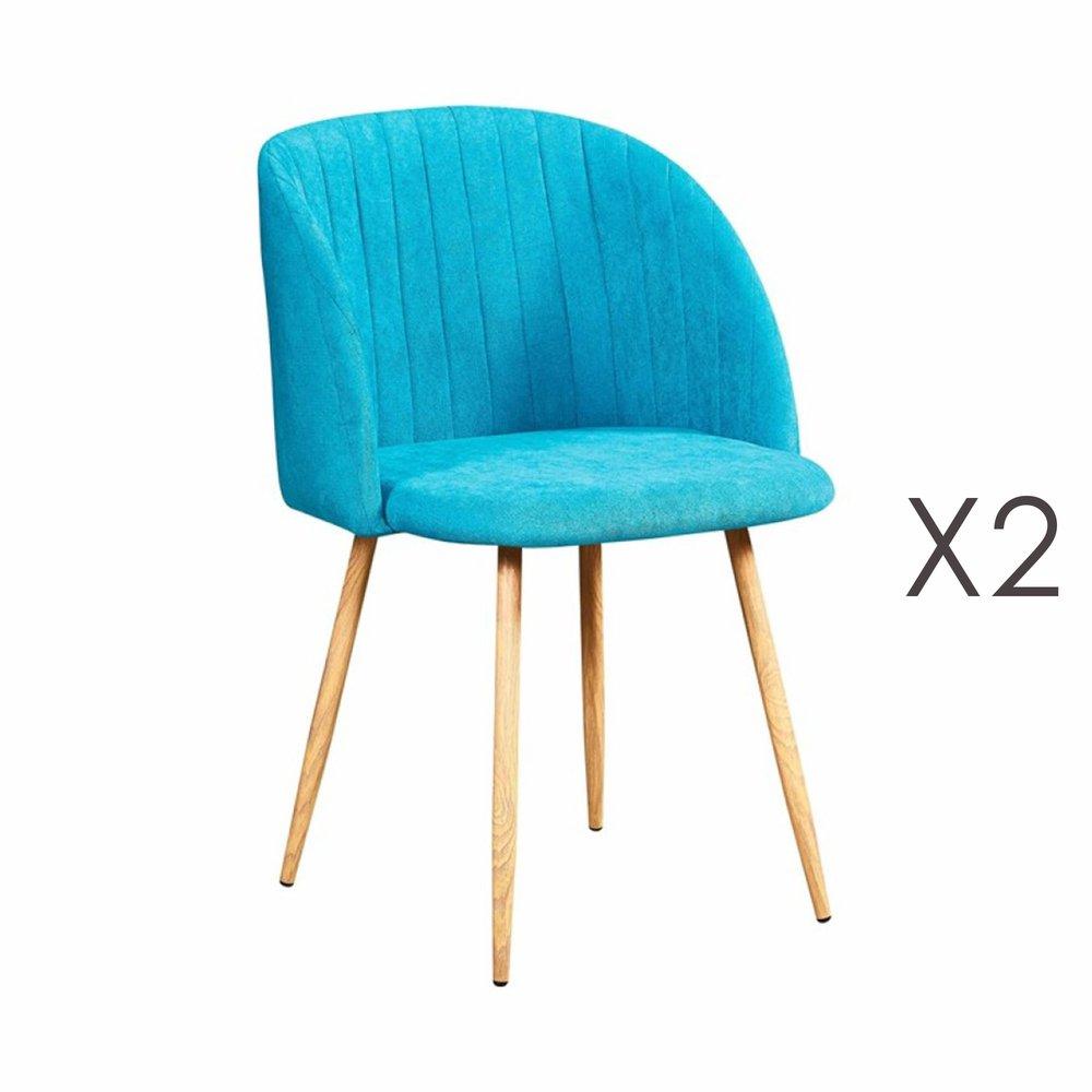 Chaise - Lot de 2 chaises en tissu suédine turquoise - LINEA photo 1