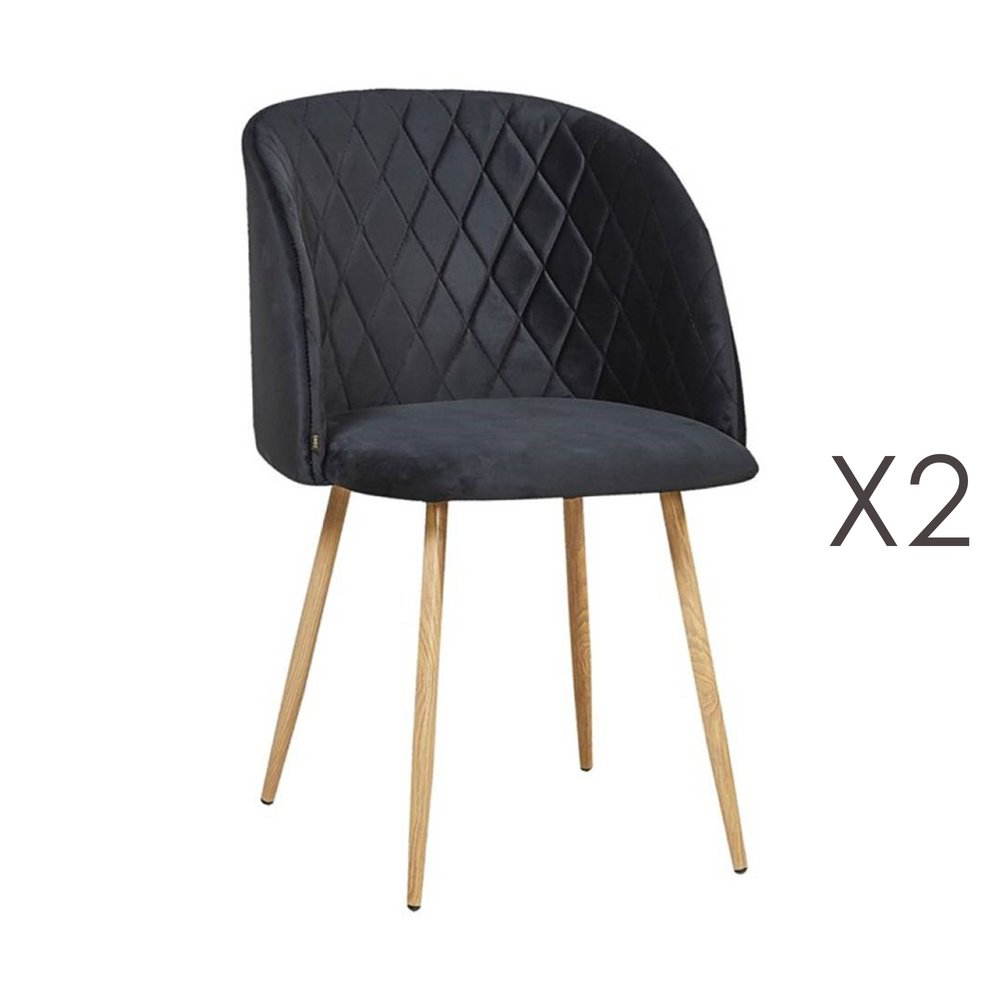 Chaise - Lot de 2 chaises en tissu velours noir - LINEA photo 1