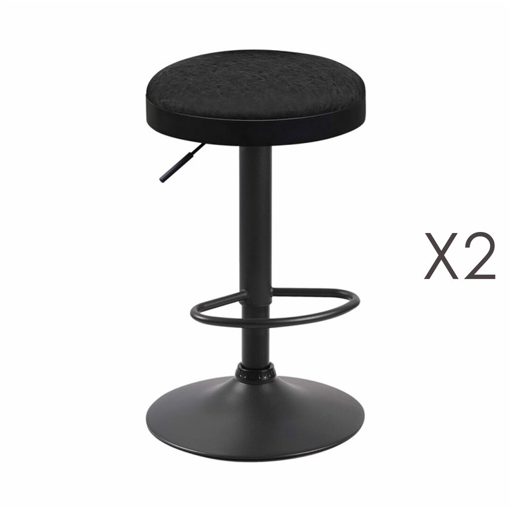 Tabouret - Lot de 2 tabourets en PU noir - ZARAY photo 1