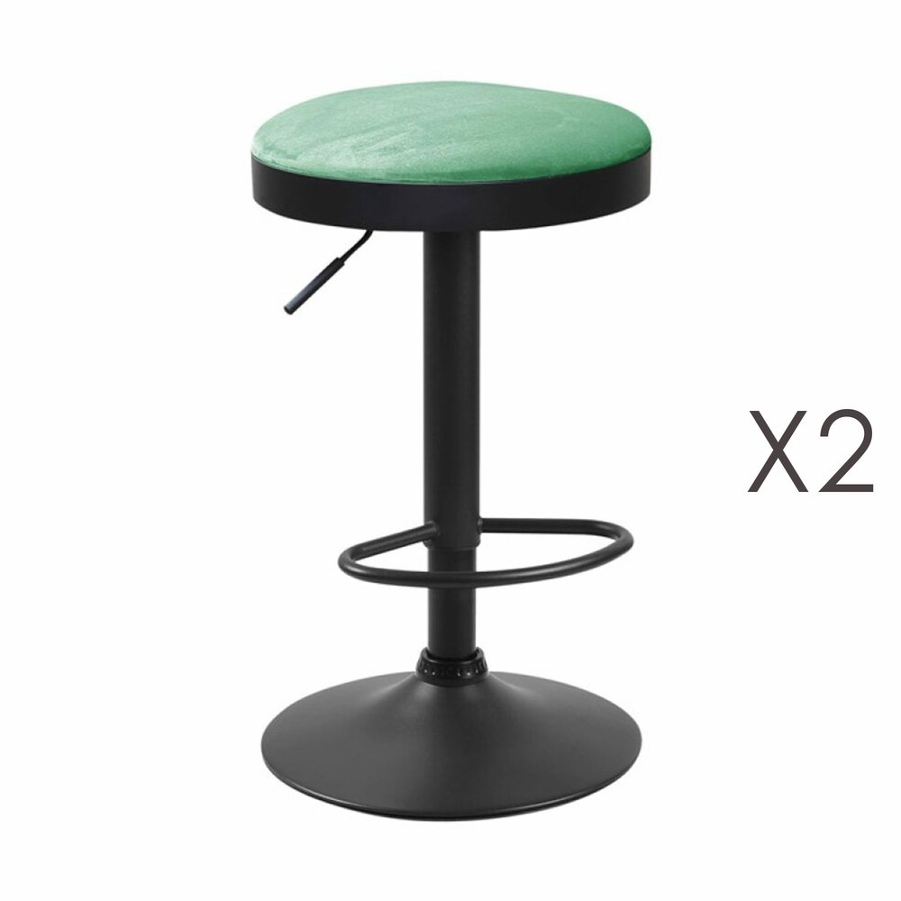Tabouret - Lot de 2 tabourets en tissu velours vert - ZARAY photo 1