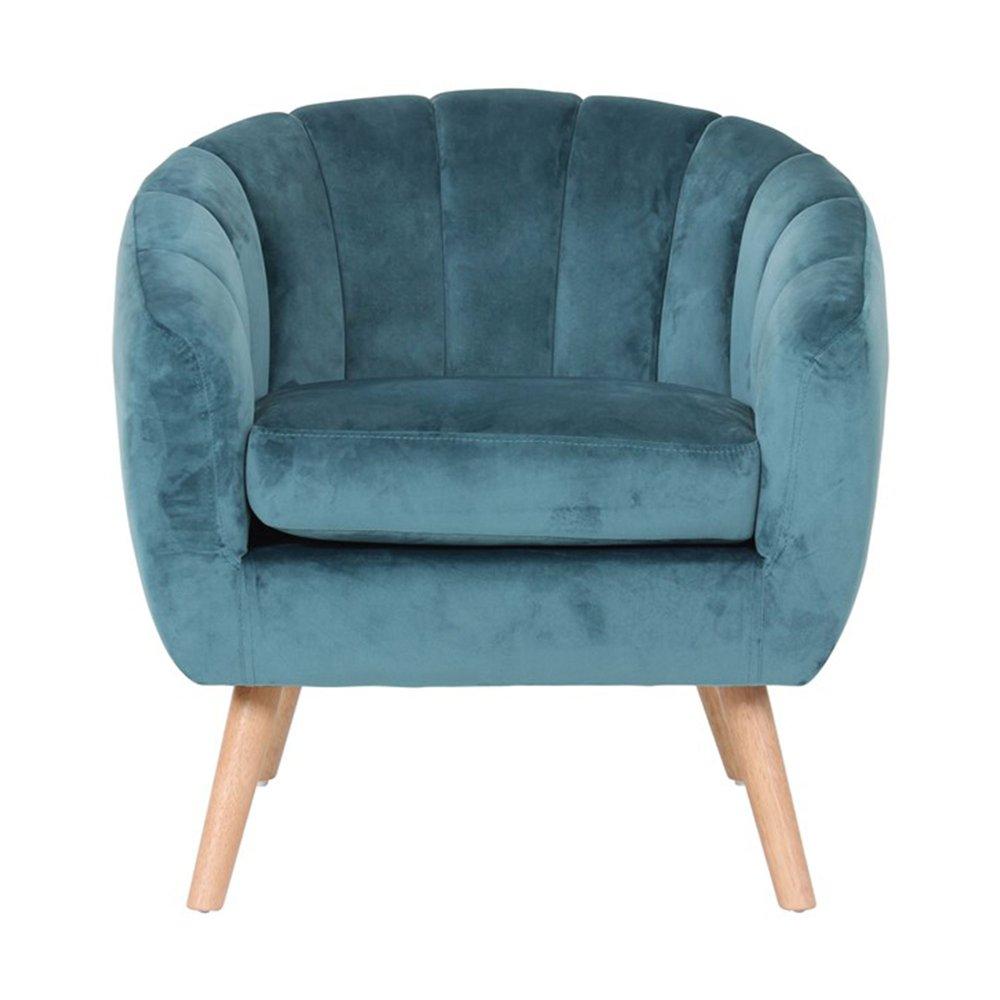 Fauteuil - Fauteuil 78x73x76 cm en tissu velours bleu - VIDAL photo 1