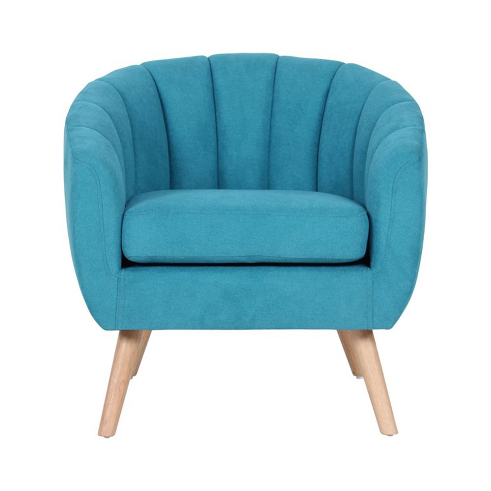Fauteuil - Fauteuil 78x73x76 cm en tissu suédine turquoise - VIDAL photo 1