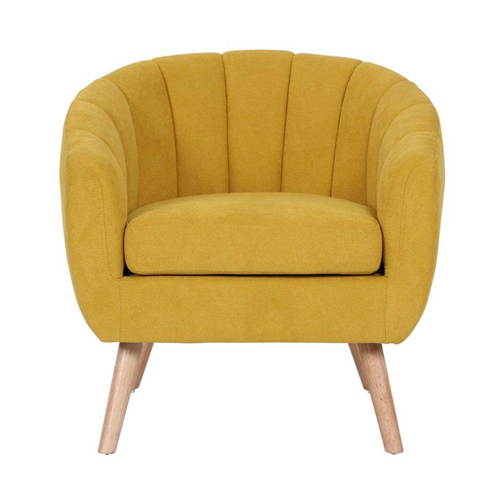 Fauteuil - Fauteuil 78x73x76 cm en tissu suédine jaune - VIDAL photo 1