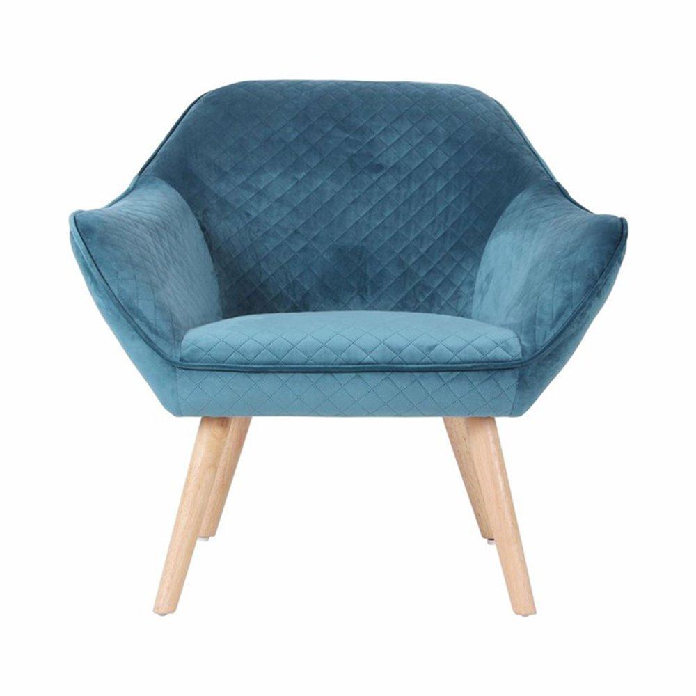 Fauteuil - Fauteuil 82x75x75 cm tissu velours bleu - ELGA photo 1