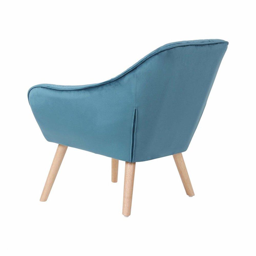 Fauteuil 82x75x75 cm tissu velours bleu ELGA