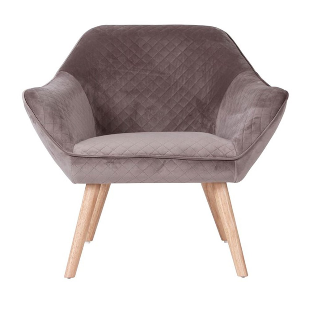 Fauteuil - Fauteuil 82x75x75 cm tissu velours taupe - ELGA photo 1