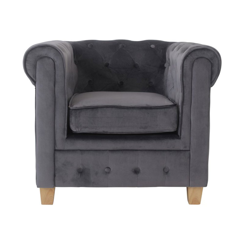 Fauteuil - Fauteuil chesterfield en tissu velours anthracite - CHESTY photo 1