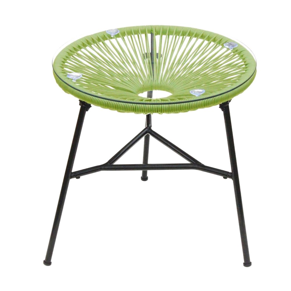 Meuble de jardin - Table ronde 50 cm vert et noir avec plateau en verre - SCOUBY photo 1