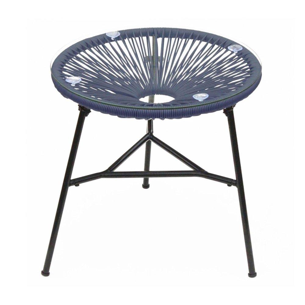 Meuble de jardin - Table ronde 50 cm bleu et noir avec plateau en verre - SCOUBY photo 1