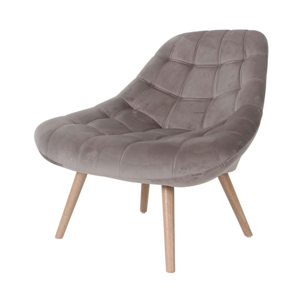 Fauteuil lounge 84x80x85 cm en tissu velours taupe YEIMY