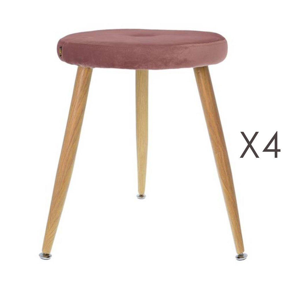 Tabouret - Lot de 4 tabourets en tissu velours rose vieilli - GIBSY photo 1