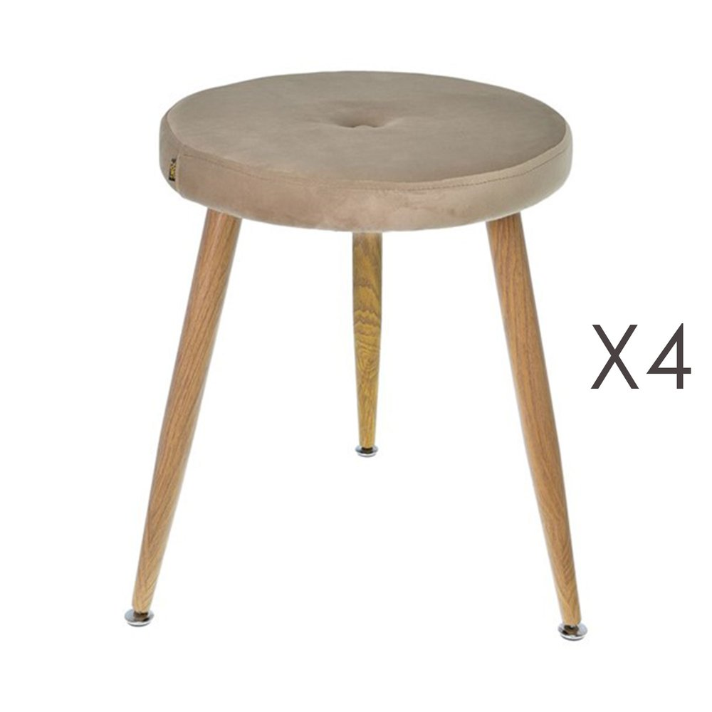Tabouret - Lot de 4 tabourets en tissu velours taupe - GIBSY photo 1