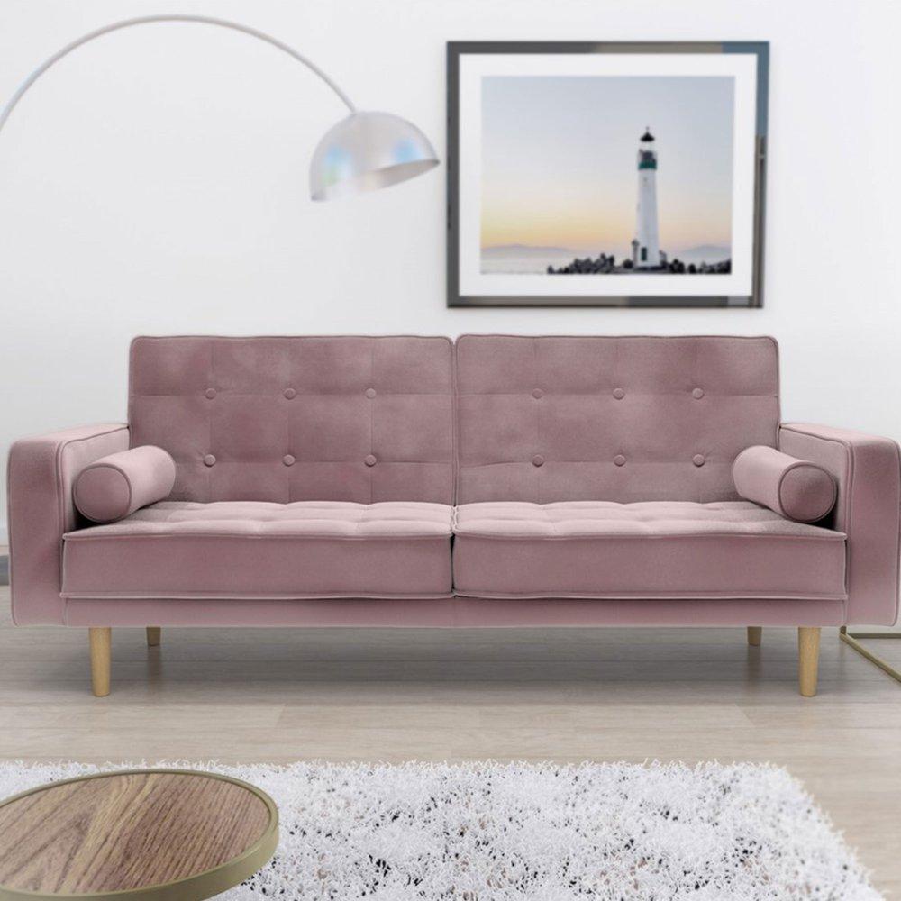 Banquette - Canapé convertible en tissu velours rose - VENTA photo 1