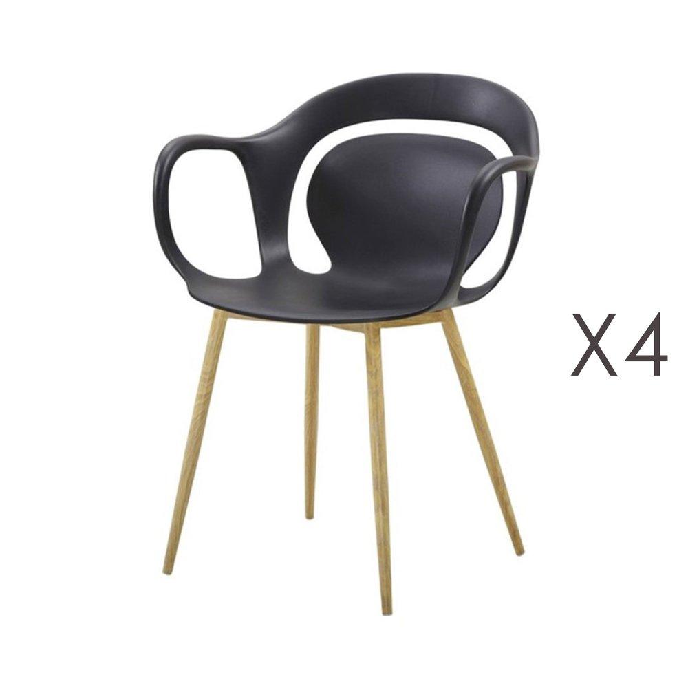 Chaise - Lot de 4 chaises 60x60x81 cm noir  - MELKY photo 1