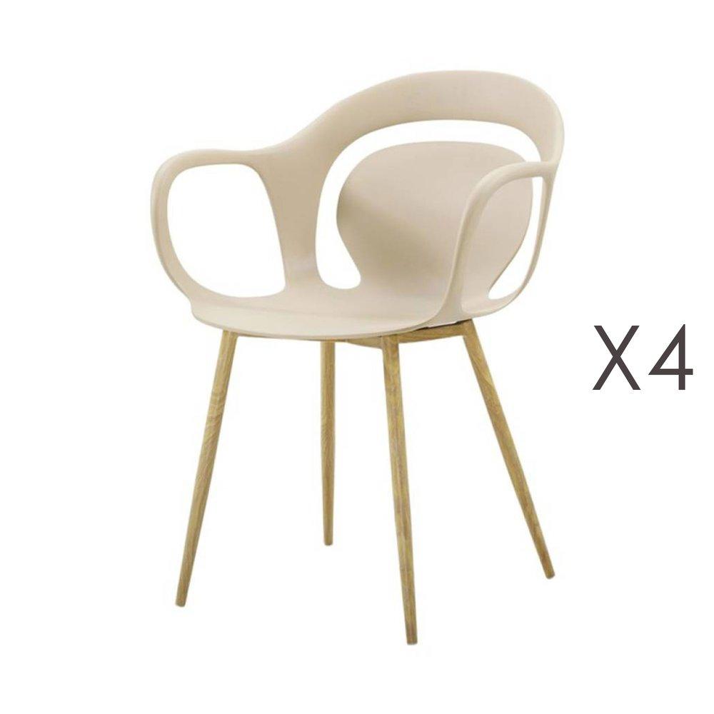 Chaise - Lot de 4 chaises 60x60x81 cm beige  - MELKY photo 1