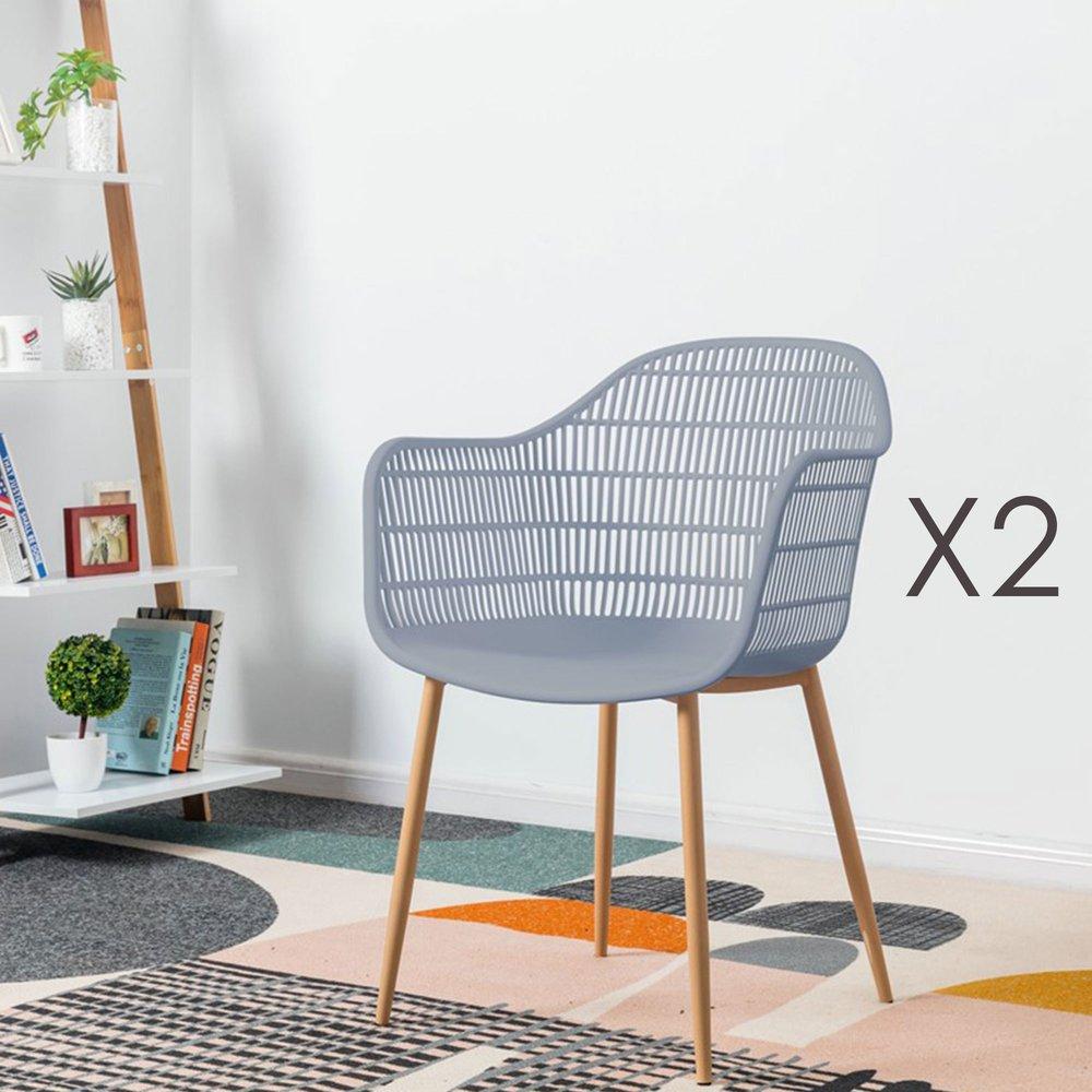 Meuble de jardin - Lot de 2 fauteuils 61x53x81 cm gris - PESCA photo 1