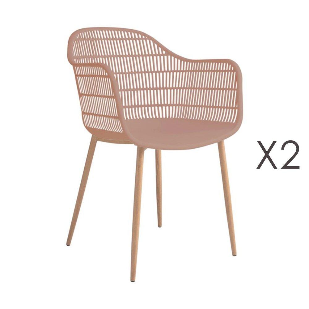 Meuble de jardin - Lot de 2 fauteuils 61x53x81 cm rose - PESCA photo 1