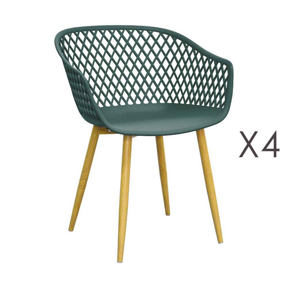 Chaise - Lot de 4 fauteuils 61x56x78 cm vert et pieds naturels - SALMA photo 1