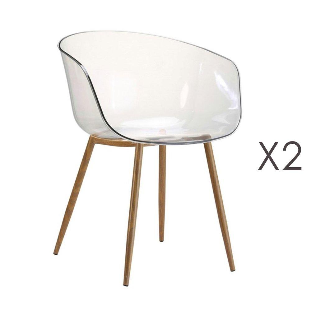 Chaise - Lot de 2 fauteuils transparents et pieds naturel - DELYA photo 1