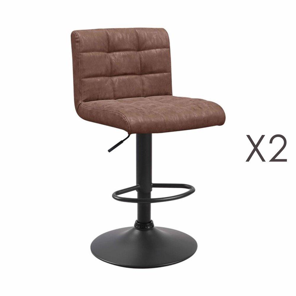 Tabouret de bar - Lot de 2 chaises de bar 50x45,5x88 cm en PU marron - GABIN photo 1